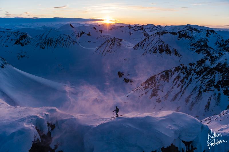 Sandra Lahnsteiner about to drop in Abisko, Swedish Lapland.